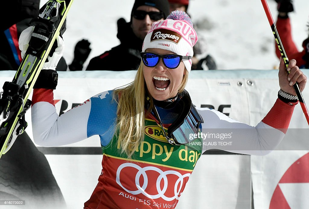 Lara Gut of Switzerland reacts after the second run of the ladies' giant slalom of the FIS ski world cup in Soelden, Austria on October 22, 2016. / AFP / APA / HANS KLAUS TECHT / Austria OUT