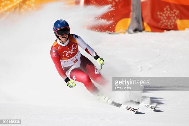 Lara Gut of Switzerland reacts at the finish during the Alpine Skiing Ladies SuperG on day eight of the PyeongChang 2018 Winter Olympic Games at...