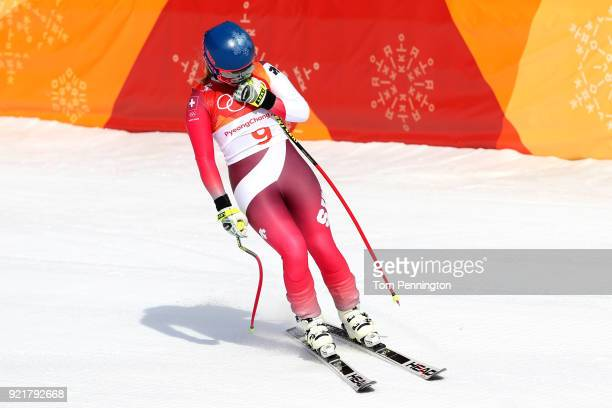 Lara Gut of Switzerland reacts at the finish during the Ladies' Downhill on day 12 of the PyeongChang 2018 Winter Olympic Games at Jeongseon Alpine...