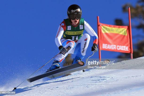 Lara Gut of Switzerland skis to first place in the ladies' downhill on Raptor at the Audi FIS Alpine World Cup at Beaver Creek on November 29 2013 in...