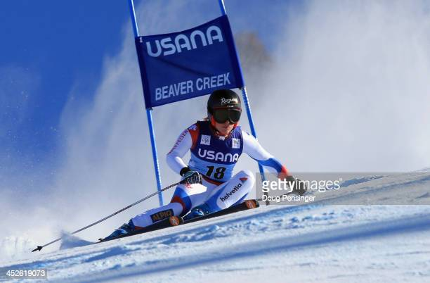 Lara Gut of Switzerland skis to first place in the ladies' Super G on Raptor at the Audi FIS Ski World Cup at Beaver Creek on November 30 2013 in...