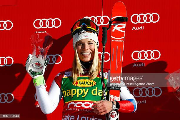 Lara Gut of Switzerland takes 1st place during the Audi FIS Alpine Ski World Cup Women's SuperG on December 07 2014 in Lake Louise Canada