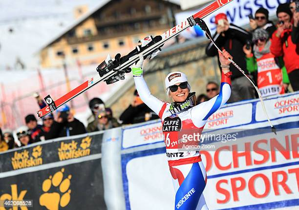 Lara Gut of Switzerland takes 1st place during the Audi FIS Alpine Ski World Cup Women's Downhill on January 24 2015 in St Moritz Switzerland
