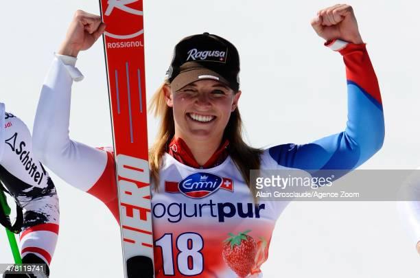 Lara Gut of Switzerland takes 1st place during the Audi FIS Alpine Ski World Cup Finals Women's Downhill on March 12 2014 in Lenzerheide Switzerland