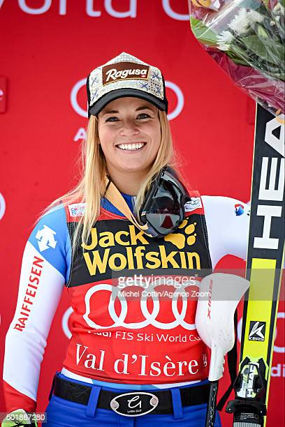 Lara Gut of Switzerland takes 1st place during the Audi FIS Alpine Ski World Cup Women's Combined on December 18 2015 in Val d'Isere France