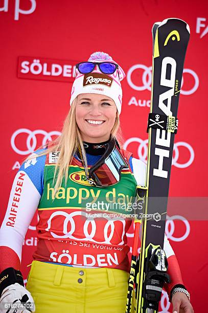 Lara Gut of Switzerland takes 1st place during the Audi FIS Alpine Ski World Cup Women's Giant Slalom on October 22 2016 in Soelden Austria