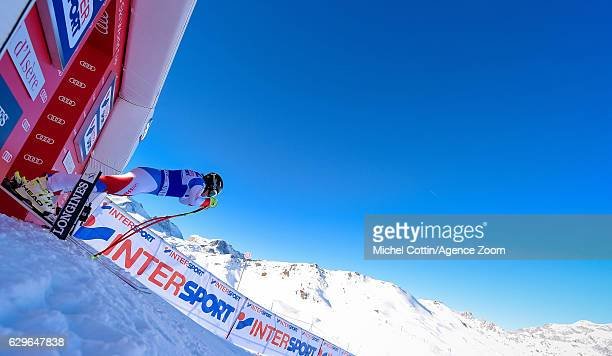 Lara Gut of Switzerland takes 1st place during the Audi FIS Alpine Ski World Cup Women's Downhill Training on December 14 2016 in Vald'Isere France