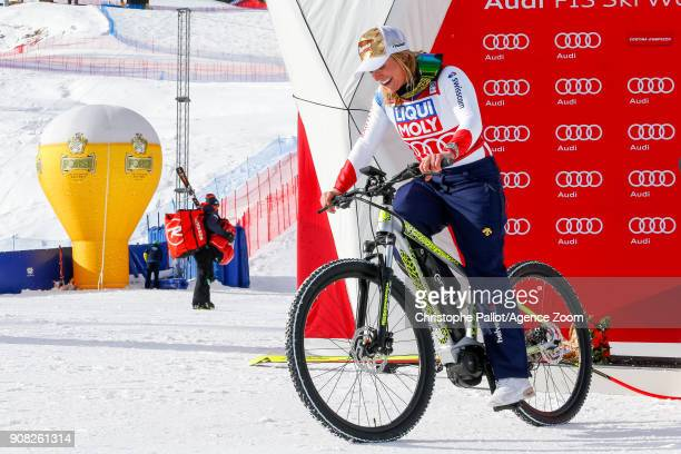 Lara Gut of Switzerland takes 1st place during the Audi FIS Alpine Ski World Cup Women's Super G on January 21 2018 in Cortina d'Ampezzo Italy