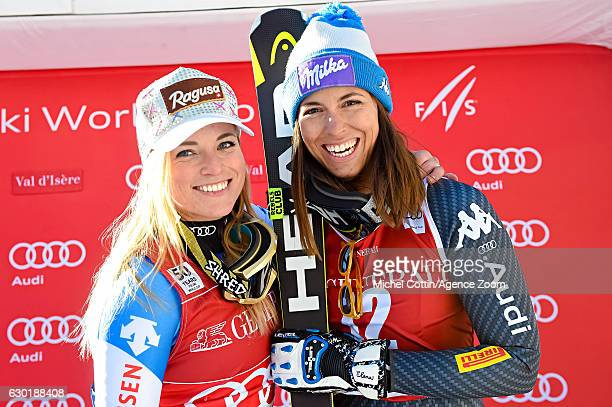 Lara Gut of Switzerland takes 1st place Elena Curtoni of Italy takes 3rd place during the Audi FIS Alpine Ski World Cup Women's SuperG on December 18...
