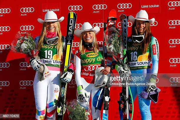Lara Gut of Switzerland takes 1st place Lindsey Vonn of the USA takes 2nd place Tina Maze of Slovenia takes 3rd place during the Audi FIS Alpine Ski...