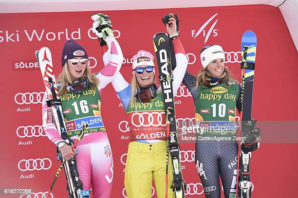 Lara Gut of Switzerland takes 1st place Mikaela Shiffrin of USA takes 2nd place Marta Bassino of Italy takes 3rd place during the Audi FIS Alpine Ski...