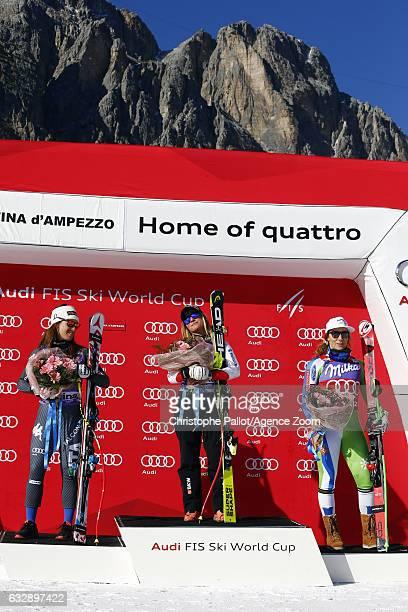 Lara Gut of Switzerland takes 1st place Sofia Goggia of Italy takes 2nd place Ilka Stuhec of Slovenia takes 3rd place during the Audi FIS Alpine Ski...