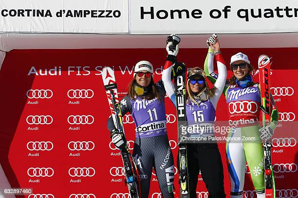 Lara Gut of Switzerland takes 1st place Sofia Goggia of Italy takes 2nd place Ilka Stuhec of Slovenia takes 3rd place during the Audi FIS Alpine Ski...