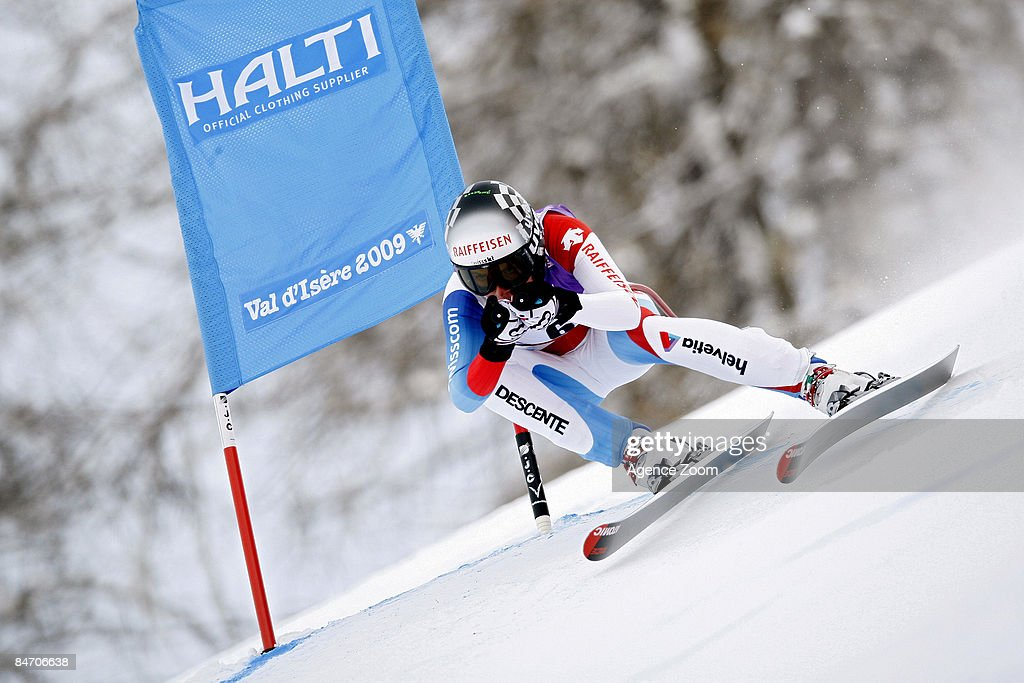 Lara Gut of Switzerland takes 2nd place during the Alpine FIS Ski World Championships Women's Downhill on February 09, 2009 in Val d'Isere, France.