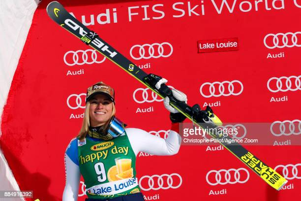 Lara Gut of Switzerland takes 2nd place during the Audi FIS Alpine Ski World Cup Women's Super G on December 3 2017 in Lake Louise Canada