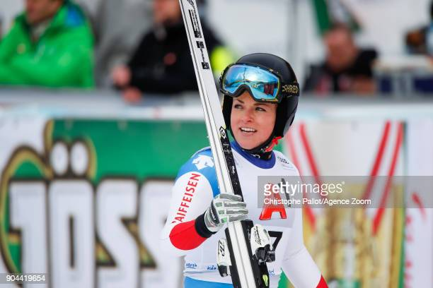 Lara Gut of Switzerland takes 2nd place during the Audi FIS Alpine Ski World Cup Women's Super G on January 13 2018 in Bad Kleinkirchheim Austria