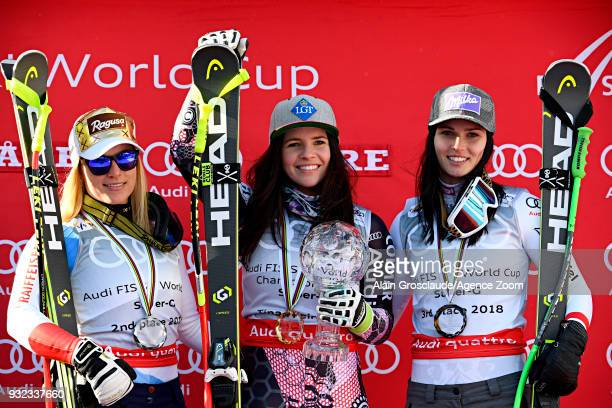 Lara Gut of Switzerland takes 2nd place Tina Weirather of Liechtenstein wins the globe in the women super G standing Anna Veith of Austria takes 3rd...