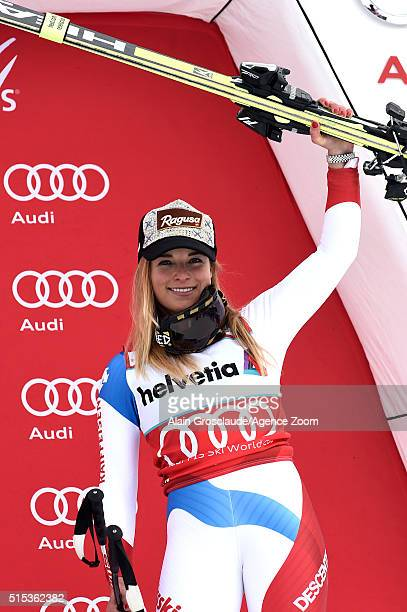 Lara Gut of Switzerland takes 3rd place during the Audi FIS Alpine Ski World Cup Women's Super Combined on March 13 2016 in Lenzerheide Switzerland