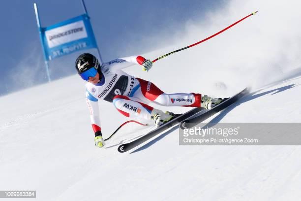 Lara Gutbehrami competes during the Audi FIS Alpine Ski World Cup Women's Super G on December 8 2018 in St Moritz Switzerland
