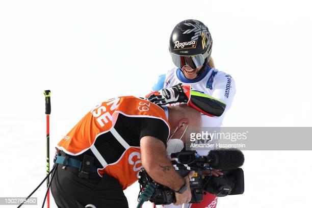 Lara Gut-Behrami of Switzerland celebrates at the finish after she wins Gold during the FIS World Ski Championships Women's Giant Slalom on February...
