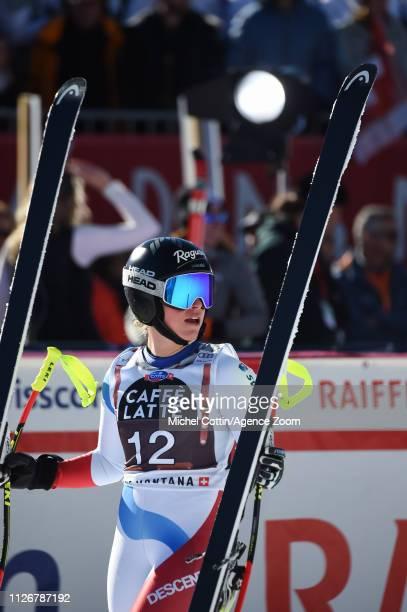 Lara Gutbehrami of Switzerland celebrates during the Audi FIS Alpine Ski World Cup Women's Downhill on February 23 2019 in Crans Montana Switzerland