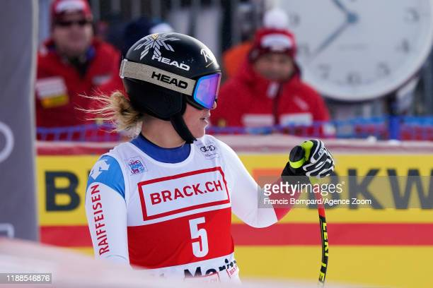 Lara Gutbehrami of Switzerland celebrates during the Audi FIS Alpine Ski World Cup Women's Super G on December 14 2019 in St Moritz Switzerland