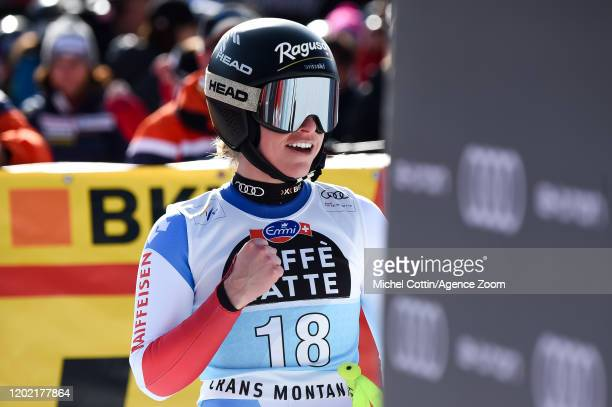 Lara Gutbehrami of Switzerland celebrates during the Audi FIS Alpine Ski World Cup Women's Downhill Training on February 21 2019 in Crans Montana...