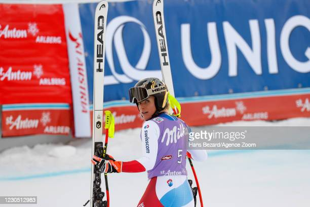 Lara Gut-behrami of Switzerland celebrates during the Audi FIS Alpine Ski World Cup Women's Super Giant Slalom on January 10, 2021 in ST ANTON...