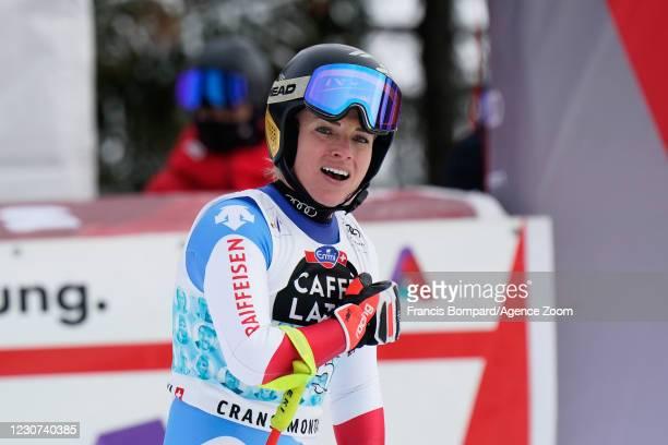 Lara Gut-behrami of Switzerland celebrates during the Audi FIS Alpine Ski World Cup Women's Downhill on January 23, 2021 in Crans Montana Switzerland.