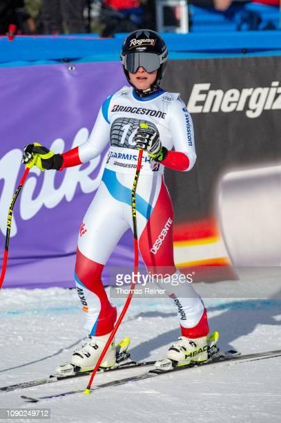 Lara GutBehrami of Switzerland competes at Audi FIS Alpine Ski World Cup Women's Downhill on January 27 2019 in GarmischPartenkirchen Germany