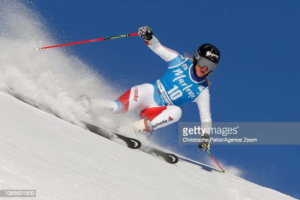 Lara Gutbehrami of Switzerland competes during the Audi FIS Alpine Ski World Cup Women's Giant Slalom on January 15 2019 in Kronplatz Italy
