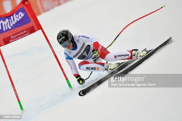 Lara Gutbehrami of Switzerland competes during the Audi FIS Alpine Ski World Cup Women's Super G on January 26 2019 in Garmisch Partenkirchen Germany