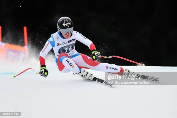 Lara Gutbehrami of Switzerland competes during the Audi FIS Alpine Ski World Cup Women's Downhill on January 27 2019 in Garmisch Partenkirchen Germany