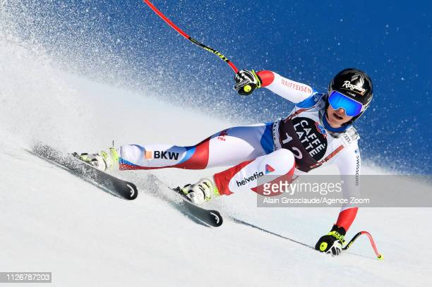 Lara Gutbehrami of Switzerland competes during the Audi FIS Alpine Ski World Cup Women's Downhill on February 23 2019 in Crans Montana Switzerland