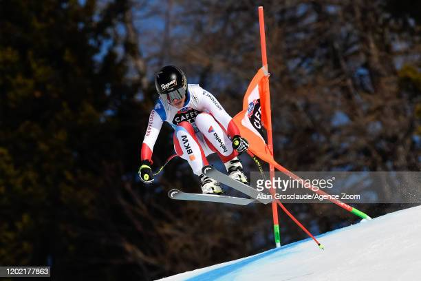 Lara Gutbehrami of Switzerland competes during the Audi FIS Alpine Ski World Cup Women's Downhill Training on February 21 2019 in Crans Montana...