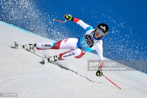 Lara Gutbehrami of Switzerland competes during the Audi FIS Alpine Ski World Cup Women's Downhill on February 22 2020 in Crans Montana Switzerland