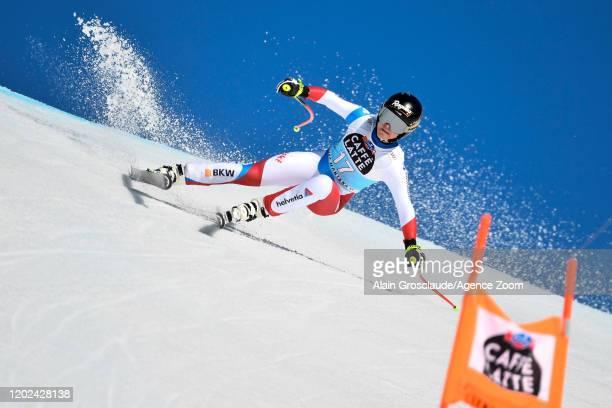 Lara Gut-behrami of Switzerland competes during the Audi FIS Alpine Ski World Cup Women's Downhill on February 22, 2020 in Crans Montana Switzerland.