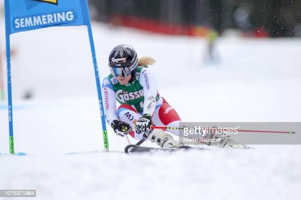 Lara GutBehrami of Switzerland during the first run of AUDI FIS Ski World Cup Women's Giant Slalom on December 28 2018 in Semmering Austria