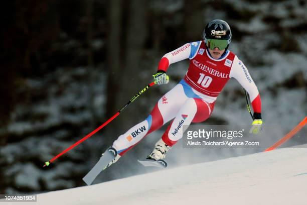 Lara Gutbehrami of Switzerland in action during the Audi FIS Alpine Ski World Cup Women's Downhill on December 18 2018 in Val Gardena Italy