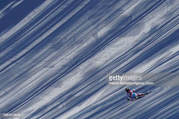 Lara Gutbehrami of Switzerland in action during the Audi FIS Alpine Ski World Cup Women's Downhill on January 18 2019 in Cortina d'Ampezzo Italy