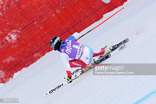 Lara Gutbehrami of Switzerland in action during the Audi FIS Alpine Ski World Cup Women's Downhill on January 19 2019 in Cortina d'Ampezzo Italy