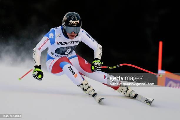 Lara Gutbehrami of Switzerland in action during the Audi FIS Alpine Ski World Cup Women's Downhill Training on January 24 2019 in Garmisch...