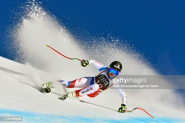 Lara Gutbehrami of Switzerland in action during the Audi FIS Alpine Ski World Cup Women's Downhill Training on February 21 2019 in Crans Montana...