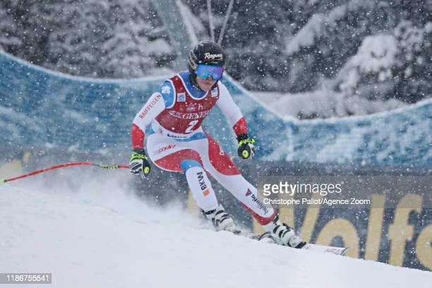 Lara Gutbehrami of Switzerland in action during the Audi FIS Alpine Ski World Cup Women's Downhill on December 6 2019 in Lake Louise Canada
