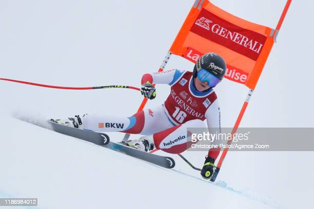 Lara Gutbehrami of Switzerland in action during the Audi FIS Alpine Ski World Cup Women's Downhill on December 7 2019 in Lake Louise Canada