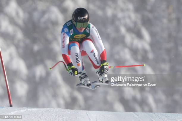Lara Gut-behrami of Switzerland in action during the Audi FIS Alpine Ski World Cup Women's Super G on December 8, 2019 in Lake Louise Canada.