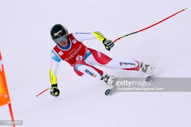 Lara Gutbehrami of Switzerland in action during the Audi FIS Alpine Ski World Cup Women's Downhill Training on February 7 2020 in Garmisch...