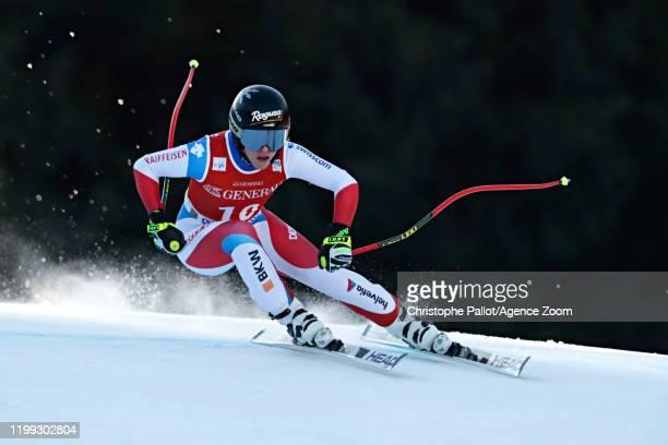 Lara Gutbehrami of Switzerland in action during the Audi FIS Alpine Ski World Cup Women's Downhill on February 8 2020 in Garmisch Partenkirchen...