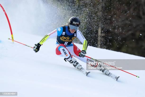 Lara Gutbehrami of Switzerland in action during the Audi FIS Alpine Ski World Cup Women's Giant Slalom on February 15 2020 in Kranjska Gora Slovenia
