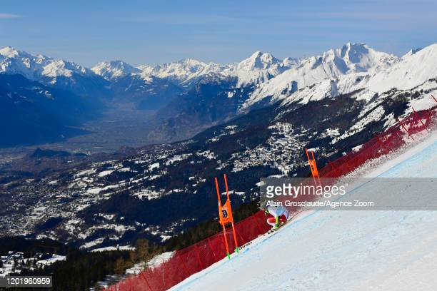 Lara Gutbehrami of Switzerland in action during the Audi FIS Alpine Ski World Cup Women's Downhill Training on February 20 2020 in Crans Montana...